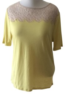 Ann Taylor Neon Plus Size Lace Trim Top Yellow