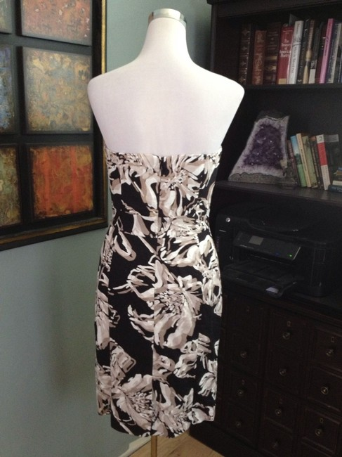 Banana Republic short dress Black, White and Tan Strapless Knee Length Floral Party With Tags Cocktail on Tradesy