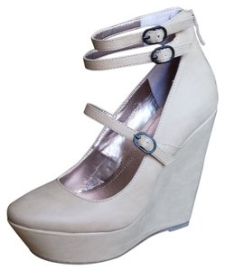 BCBGeneration Leather Buckle Mary Jane Blush/Nude Wedges