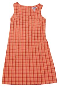 Old Navy Plaid Peach/pink/red Sleeveless Dress