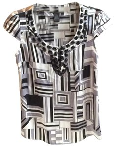 INC International Concepts Top Black/white/gray
