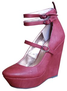 BCBGeneration Leather Buckle Mary Jane Red Wedges