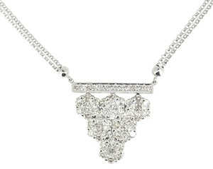 Other 14K White Gold 1.55 Ct Diamond Double Strand Necklace 7.3 Grams 16