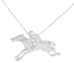 Other 14K White Gold 1.10Ct Diamond Horse Rider Pin Pendant Necklace 15
