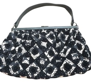 Santi Vintage black and ivory purse with velvet and sequin details. Such a fun bag for a night out. Used once! Shoulder Bag