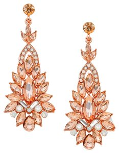 Rhinestone Crystal Marquise Rose Gold Peach Cluster Earrings