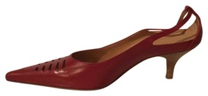 Max Mara Leather Kitten Heel red Pumps