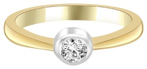 Avi and Co 0.35 ct H-I/SI Round Diamond Solitaire Bezel Engagement Ring 14k Yellow Gold