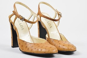 Prada Ostrich Leather Tan Pumps