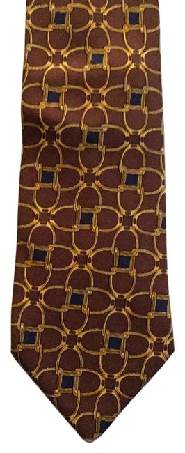 Item - Brown with Gold and Navy Accents Tie/Bowtie