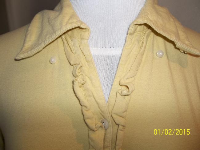 Tommy Hilfiger Long Sleeve Button Front Embellished Medium Button Down Shirt Yellow