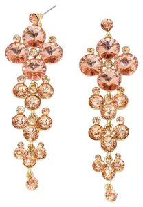 Rhinestone Crystal Peach Gold Bubble Cluster Earrings