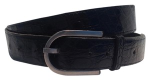 Arnys Paris Black Crocodile Belt with silver toned buckle