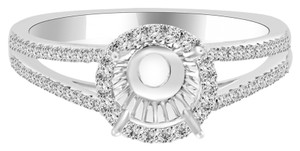 Avi and Co 0.95 cttw Round Diamond Halo Split Shank Engagement Semi-Mounting 18K White Gold