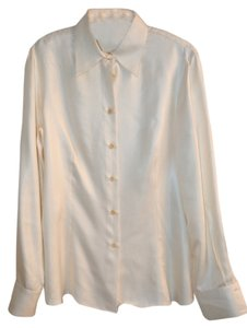 Giorgio Armani Button Up Blouse Medium Button Down Shirt pearl