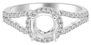 Avi and Co 0.80 cttw Round Diamond Split Shank Halo Engagement Semi-Mounting 18K White Gold