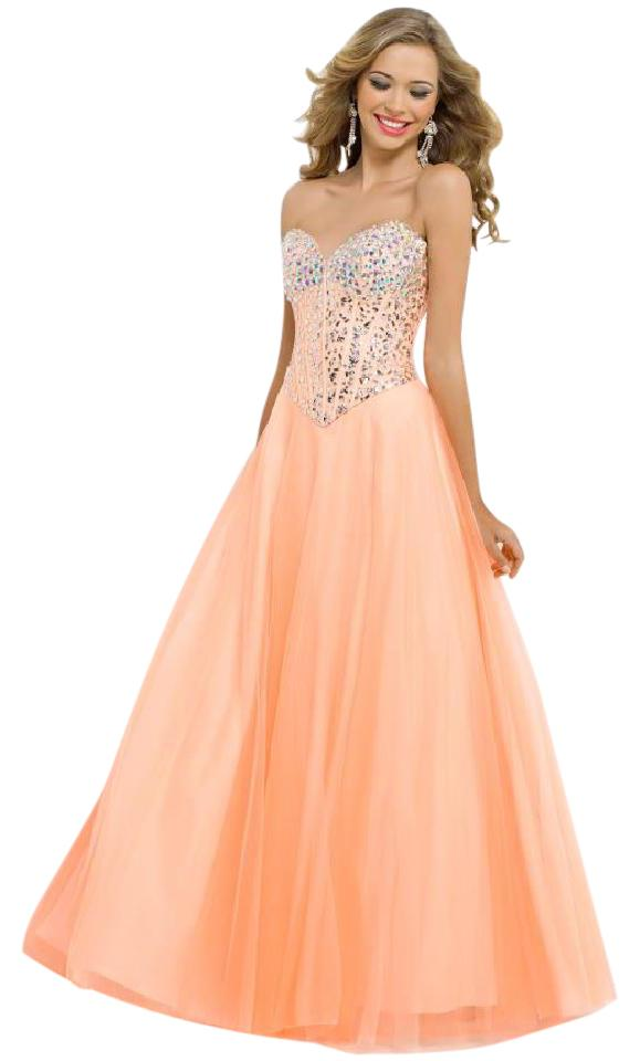 Blush Light Tangerine Ball Gown Zipper Back Long Formal Dress Size 2 ...