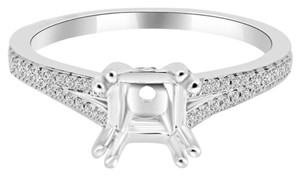 Avi and Co 0.55 cttw Round Diamond Pave Split Shank Engagement Semi-Mounting 18K White Gold