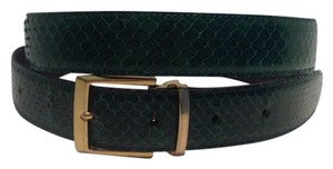 Green Snake Belt with gold toned buckle fits a 36 - 42 inch waist (92-107 cm)