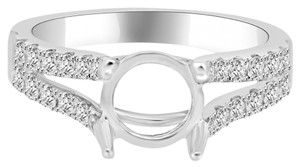 Avi and Co 0.78 cttw Round Diamond Pave Split Shank Engagement Semi-Mounting 18K White Gold