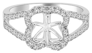 Avi and Co 0.70 cttw Round Diamond Cloverleaf Halo Engagement Semi-Mounting 14K White Gold