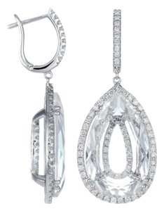 DIANA M. JEWELS White Quartz & Diamond Teardrop Earrings in White Gold