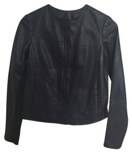 Vince Leather Perforated Dark Navy Leather Jacket