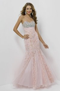 Blush Fitted Mermaid Floral Prom Dress