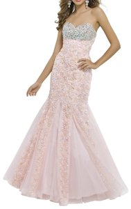 Blush Fitted Mermaid Prom Dress
