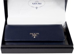 Prada PRADA SOFT LEATHER Baltic Blue Wallet with Extractable Badge