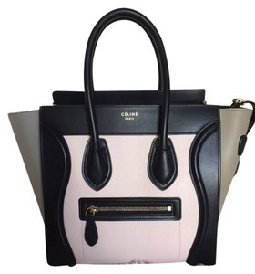 Céline Micro Luggage Tote in Black Blush Olive