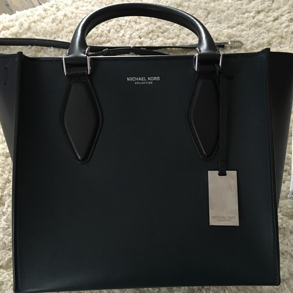 ec1a66af1914 Michael Kors Gracie Medium Tote Black & Peacock French Calf Leather Satchel  - Tradesy