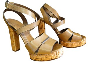 Tory Burch Sandals Ankle Wrap Leather Strappy tan Platforms