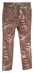 Ralph Lauren Stretchy Capri/Cropped Pants Tan feather pattern