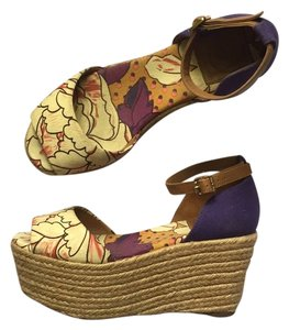 Tory Burch Purple, yellow, and cream Wedges