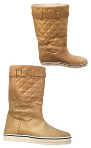 Chanel Quilted Moto Leather Flat Gold Boots
