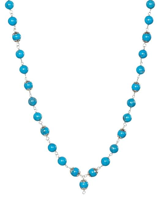 """Item - Turquoise Sterling Silver Genuine 25"""" Bead Necklace"""