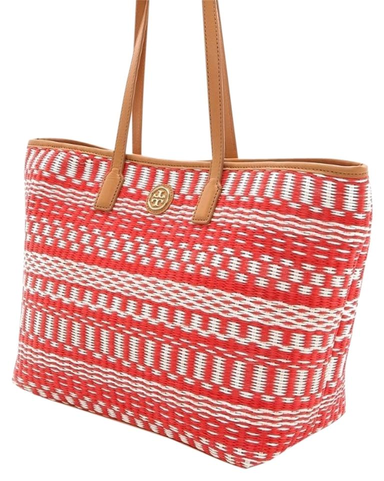 f2017be11af Tory Burch Stripe Large Purse Red Straw Tote - Tradesy
