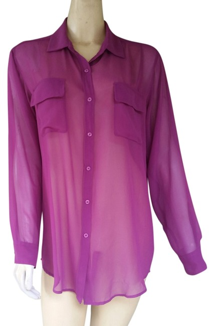 Item - Magenta L Sheer Button Front Blouse Shirt Large Button-down Top Size 12 (L)