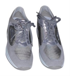 Santoni Women's Sneaker Made In Italy Grey/Silver Athletic