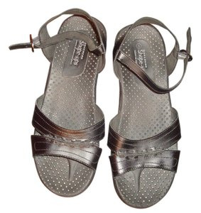 Skechers Memory Foam Black Leather Sandals