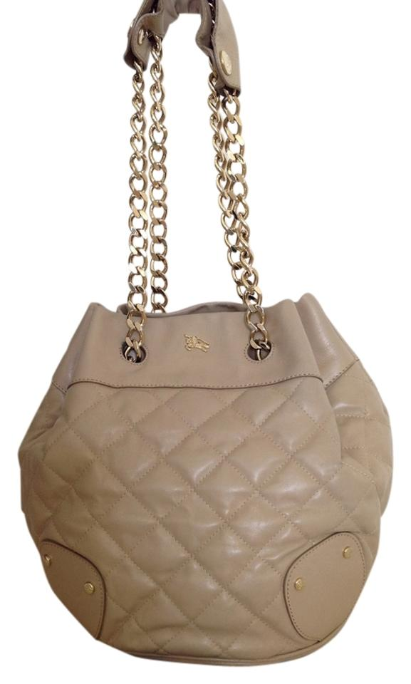 33534c8c7535 Burberry Quilted Rich Bucket with Gold Chains. Leather Shoulder Bag ...