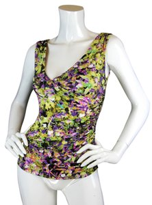Roberto Cavalli Sleeveless Neon Print Floral Top MULTI COLOR