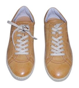 Santoni Distressed Design Contrast Stitching Women's Sneaker Made In Italy Ocher Athletic