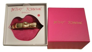 Betsey Johnson BETSEY JOHNSON GOLDTONE CLEAR PAVE' BOW HINGED CUFF BRACELET BOXED NWT $35