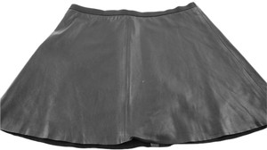BCBGMAXAZRIA Leather Flared Skirt Black
