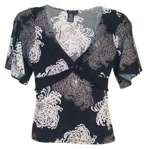 BCBGMAXAZRIA Top Floral black, grey, white