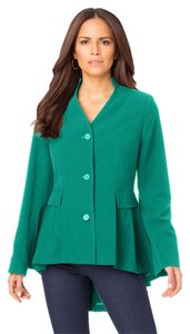 Roaman's Hi Lo Fit And Flare Deep Emerald Green Blazer