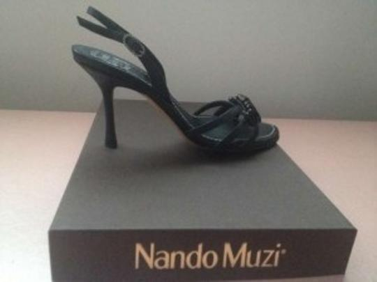Nando Muzi Prom Wedding Strappy Satin Sandal black Formal