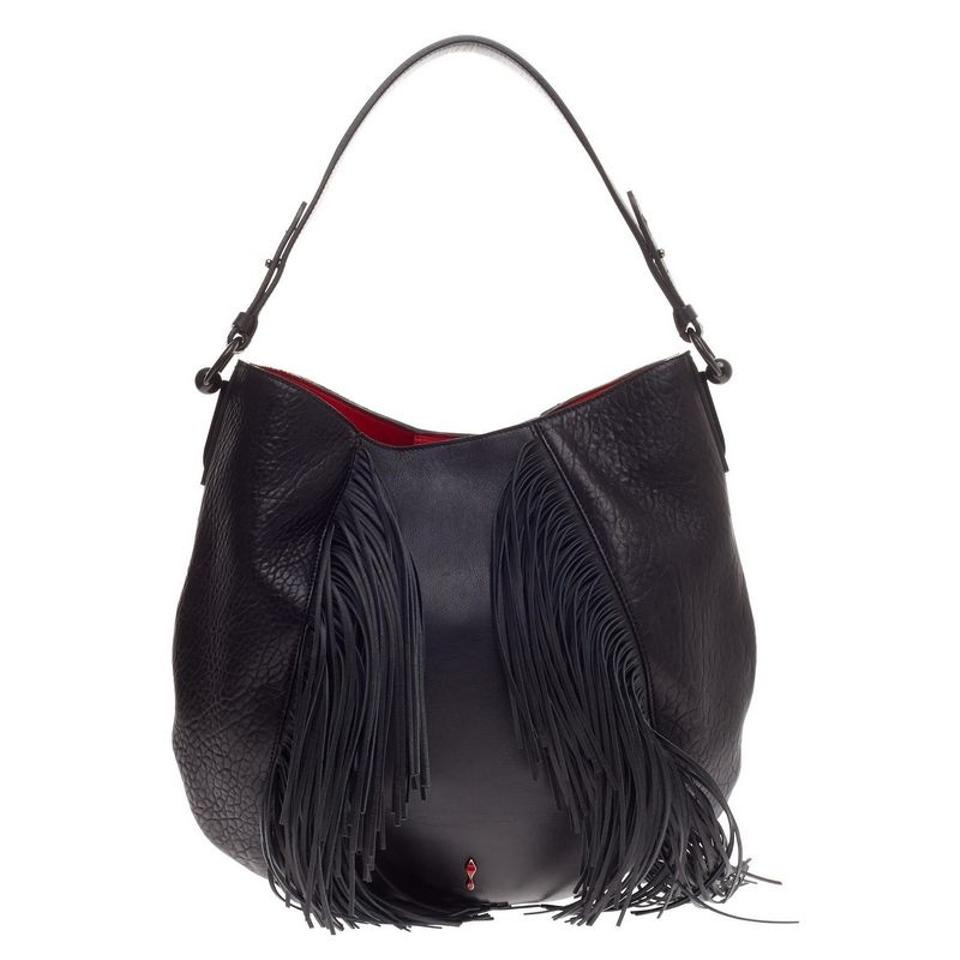d7bf88cc354 Christian Louboutin Lucky L Fringe Black Leather Hobo Bag 52% off retail